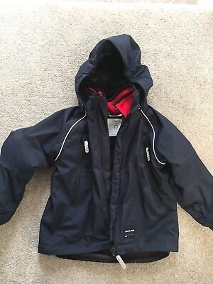Polarn O Pyret Navy Shell Jacket And Red Inner Fleece Size 4-5 Years Waterproof