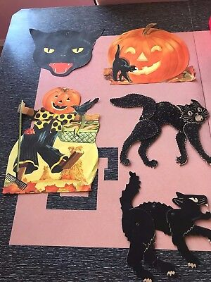 Lot of 5 Vintage Die Cut + Other Halloween Decorations. Black Cats. Pumpkins.
