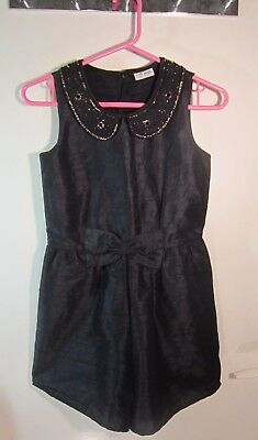 NEXT Girl's Smart Party Dress / Playsuit Age 10 Years, Black Beads Gold Sequins