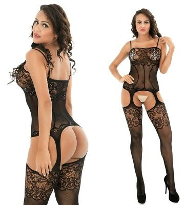 Sexy Women Bodystockings Black Lace Mesh Babydoll Sleeveless Underwear Lingerie