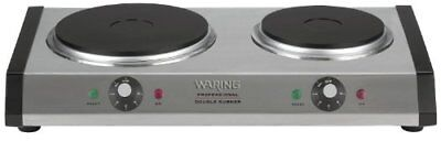 Commercial Heavy-Duty Cast-Iron Double Burner features brushed housing Hot food