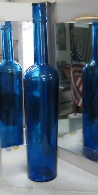 "*Mint* Cobalt Blue 3-Piece Mold Olive Oil / 12.5"" Tall / Circa 1870s"