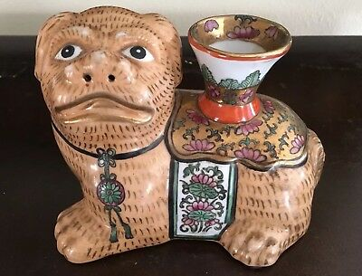 20th C. Chinese Famille Temple Lion - Foo Dog Joss Stick Holder Marked NR