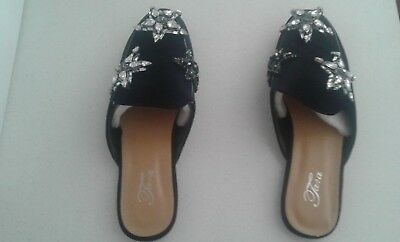 Black Velvet Shoes (Slide In) - With Black and Silver Sequins - Size 39