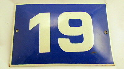 Old Vintage Door House Blue Porcelain Enamel Number 19 Tin Sign Plate