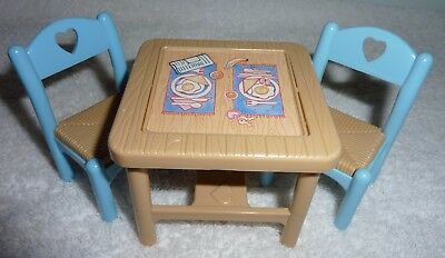 Fisher Price Loving Family Dream Dollhouse Flip Top Dining Table 2 Chairs