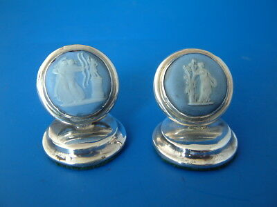 2 Chester Silver & Wedgwood Jasperware Menu Card Holders - 1905 Cohen & Charles