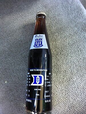 Duke University 1991 Basketball Ncaa Champions Coca-Cola Bottle