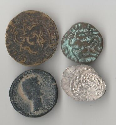 4 Nice INTERESTING VERY OLD Coins 1 SILVER  U I D ???? NO-RESERVE