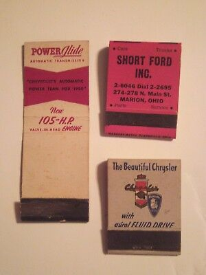 Automotive  Advertising Matchbooks lot of 3