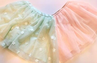 Girls Skirts, Lot of 2, Tulle Tutu Style, LNC, sz 7 8, mint & pink with gold