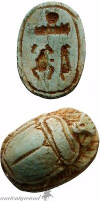 Intact Egyptian Carved Scarab Bead Seal Circa 200 Bc