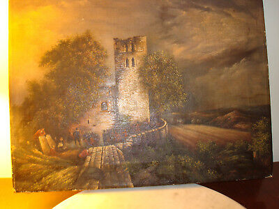 Antique 19Th Century Signed Oil Painting Soldiers Castle