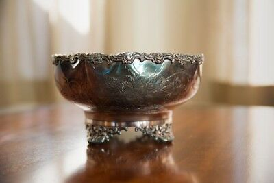 Vintage silver plate bowl with floral engraving by Mermod Jaccard St. Louis