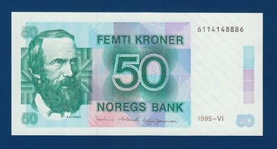 NORWAY 50 Kroner 1995 P42f UNC Uncirculated Norges Bank Norge