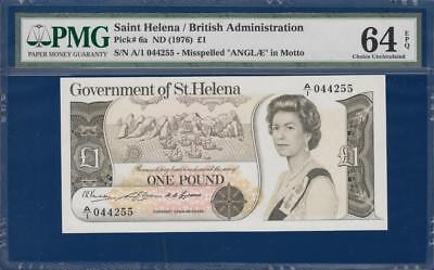 SAINT HELENA 1 Pound ND(1976) P6a misspelled ANGLAE PMG 64 Choice UNC EPQ