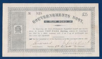 SOUTH AFRICA 5 Pounds 1900 P55a Gouvernements Noot Anglo-Boer War Afrikaansche