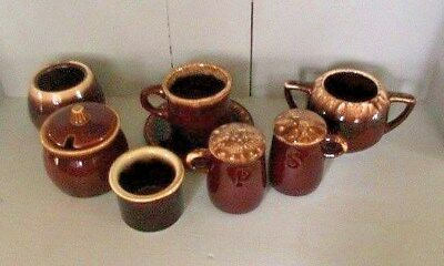 LOT of ASSORTED USA VINTAGE BROWN DRIP POTTERY DISHES + McCOY HULL PFALTZGRAFF