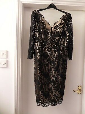Size 14 black lace and cream satin lining dress by  Episode