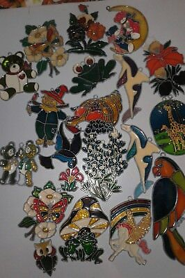 Large Lot of Vintage Stained Glass Style Sun Catcher, Christmas Ornaments