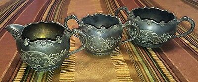 RARE rockford Silver plate 1875 antique tea set sugar creamer dish
