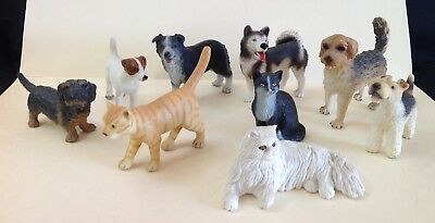Realistic Plastic Dog/cat Collection - Schleich - Lot of 9. - NO RESERVE