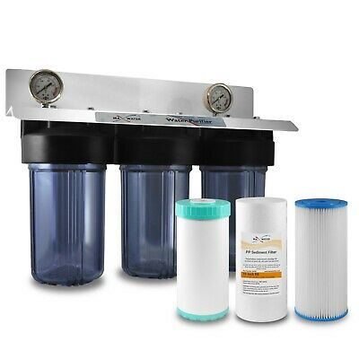 "3 Stages 10""x4.5"" Clear Whole House Water Filter System 3/4""or 1"" Ports"