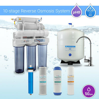 10 Stage Home Undersink Alkaline + Reverse Osmosis RO Water Filter System 50 GPD