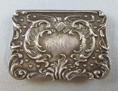 Vintage Sterling Silver 1895 Pill Box Trinket Box Raised Design Victorian 10.2G
