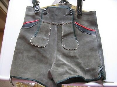 Boys Liderhosen Suede Leather Red Trim Two Button Front