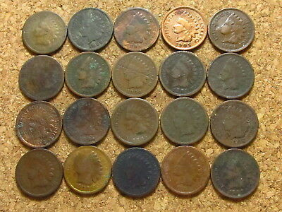 1880 - 1909 Indian Head Cent Penny Cull Lot - 20 Coins - No Duplicate Dates