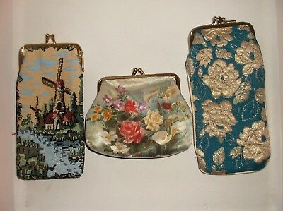LOT VTG  Bag   Coin Purse Cigarette Case Eyeglass Holder BROCADE Tapestry Satin