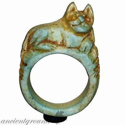 Intact Vintage Egyptian Glazed Ring With Cat On The Top