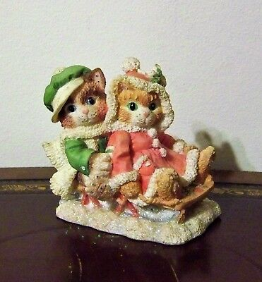 Enesco Calico Kittens Silver Bells Christmas Figurine 1995 #144436 Cats on Sled