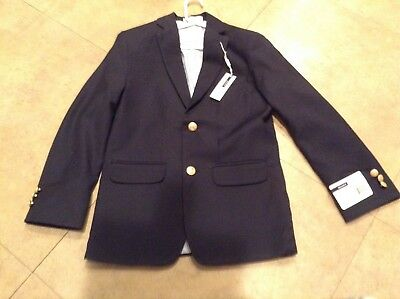 Boys Izod Sports Coat New With Tags Navy Wool Blend Brass Buttons Classic