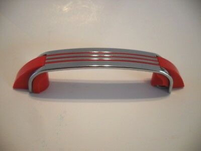 Vintage Chrome Drawer Pull RED Lines Plastic Ends Hoosier Cabinet Handle Amerock