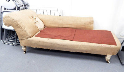 Antique early Victorian roll back chaise longue for reupholstery