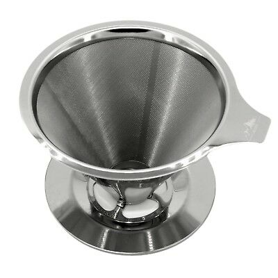 Pour Over Coffee Dripper Stainless Steel Coffees Maker Paperless Reusable Filter