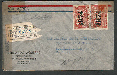 Uruguay WWII examined by 6202 censor registered cover Montevideo to NY via Miami