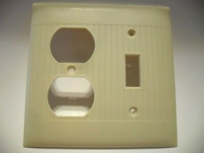 Vtg IVORY Ribbed COMBO Toggle SWITCH & OUTLET Cover Wall Plate Sierra Electric