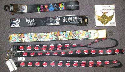 Lot of 7 New Belts, Lanyards, and Necklace; Pokemon, Tokyo Ghoul, Zelda, etc!!