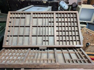 Wooden Printers Tray Letterpress Type Case Drawer  Vintage