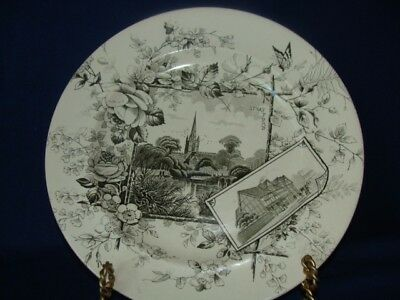 """Aesthetic Transfer Ware Black And White Plate - Anglais Well Marked Wa.a 10 1/2"""""""