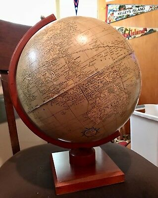 "Vintage Cram's Universal Terrestial Globe 12"" on Wood Arm & Base USSR"