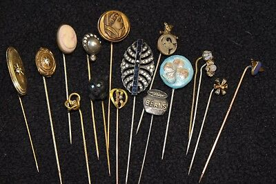 16 piece Lot Vintage Antique STICK PINS  cameo, tiger-eye, advertising, C@@L!