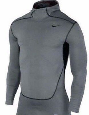 Mens Large NIKE Hyperwarm Dri Fit Max Compression Rashguard Hoody Shirt Combat