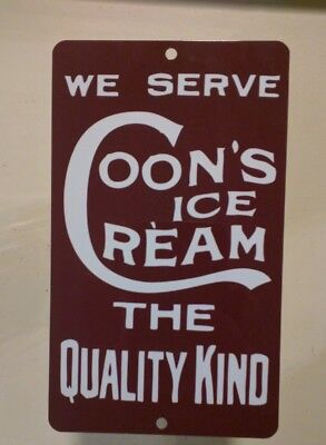 Coons Ice Cream Dairy metal door push Advertising Sign vintage soda shop S08