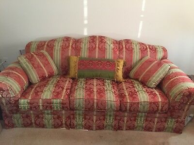 Beautiful Estate Baker Furniture Home Sofa Red, Gold & Green Flower Pattern
