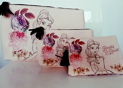 Primark Disney Beauty And The Beast Make Up Bag Bnwt Large, Medium, Small