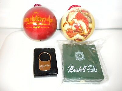 Marshall Fields Ornaments, Shopping Bag, Keychain and 2 vintage MF ornaments
